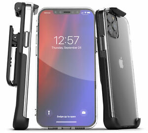 For iPhone 12 Pro / Max / Mini Belt Clip Case Slim Clear Back Cover with Holster