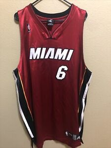 LEBRON JAMES #6 MIAMI HEAT RED ADIDAS SILKY AU NBA JERSEY ADULT SIZE: 52