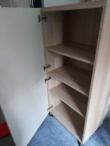 Ikea Besta Cupboard Unit Storage Cream High Gloss Light Wood shelves tall modern