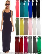 New Ladies Summer Jersey Long Vest Racer Muscle Back Maxi Dress Plus Size UK8-26