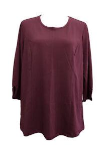 BNWOT: Size 14-16 Ladies Burgundy(Wine) 3/4 Sleeve Stretch Tunic Top