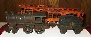 Dent Co Antique Cast Iron 4 Piece Toy Train Set, Engine, Tender, Passenger Cars