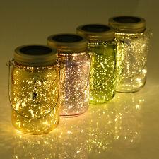 4-Pcs Glass Jar String Light w/ Handle Solar Power LED Multi Color Light Ф8cm