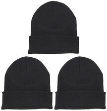 3 Polyester/Cotton Women/Men One Size Fits All Warm Winter Beanie Cap Hat Black