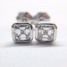 0.44 CARAT G VVS2 ASSCHER CUT DIAMOND STUD EARRINGS BEZEL SET 14K WHITE GOLD