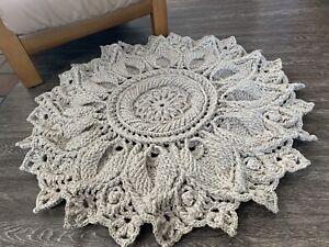 Handmade Mandala Rug Crochet Wool Carpet Doilie Round