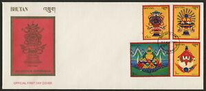 Bhutan 391-4 on FDC - Buddhist Symbols