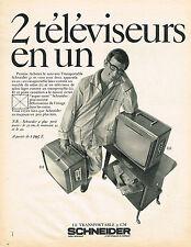 PUBLICITE ADVERTISING 084  1968   SCHNEIDER  téléviseur transportable 51 cm