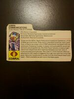 1985 GI Joe Hasbro Cut Cardback File Card Only Cobra Communications Tele Vipers
