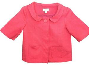 ANN TAYLOR LOFT Petites Career Jacket Coat Coral Blazer Career 2P Textured