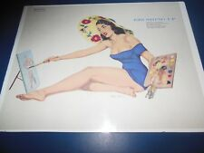 "1950s  ESQUIRE CENTERFOLD PIN-UP GIRL ""BRUSHING UP"" BY EDDIE CHAN ON POSTERBOARD"