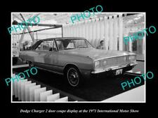 OLD LARGE HISTORIC PHOTO OF DODGE CHARGER COUPE 1971 MOTOR SHOW DISPLAY