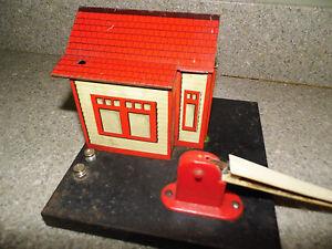 Vintage Marx RailRoad Crossing Building & Gate - Watchman On Duty R.R. Property
