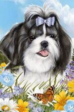 Outdoor Small Flag Shih Tzu BlkWht Dog Summer Flowers Garden Flag