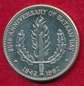 PHILIPPINES 1967 COMMEMORATIVE SILVER ONE PESO 25th BATAAN DAY **UNCIRCULATED**
