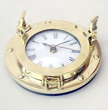 "NAUTICAL NAVIGATION MARINE Brass SHIP PORTHOLE Battery Quartz WALL CLOCK 6"" New"