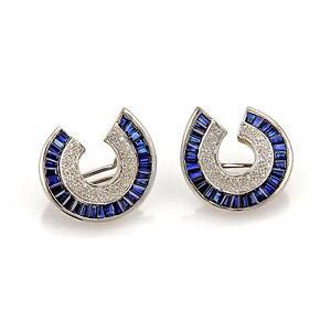 Bellari 7.60ct Sapphire Diamond 18k White Gold Fancy Curved Post Clip Earrings
