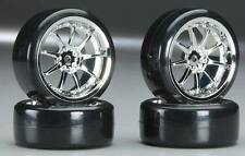 Type5 Chrome Wheels With Hard Drifting Tires 1/10th Scale 26mm (4pc) RC Drift