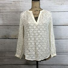 J. Crew Womens Blouse Silk Blend Cream Metallic Floral Clip Top Size 0 Sheer