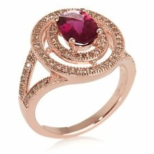 RARITIES CAROL BRODIE PINK RUBELLITE AND DIAMOND ACCENT VERMEIL RING SIZE 8 HSN