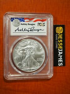 2018 $1 AMERICAN SILVER EAGLE PCGS MS70 ASHLEY REAGAN SIGNED LEGACY SERIES LABEL