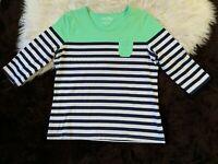 Woman's Shirt Top Coral Bay Size L Aqua Green White Stripe Large