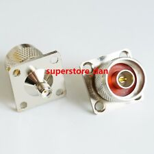 N Type Male Plug to SMA Female Jack Flange mount RF Adapter Cable Connector
