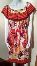 MULTI-COLOR floral 70's dress Monteau Los Angeles LARGE vibe orange sexy & light