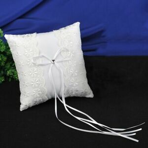 15*15cm Bridal Wedding Ring Pillow Lace Flower Lovely Ribbons Wedding Decoration