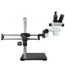 6.7X-45X Zoom Stereo Trinocular Microscope with Ball Bearing Dual-arm Boom Stand