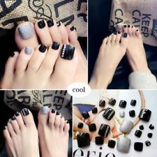 24 x New 3D Shimmer Silver Diamond Black Short Fake False Toe Nails Glue