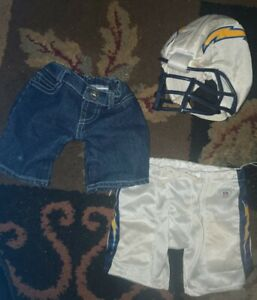 Build a Bear NFL Los Angeles Chargers Football helmet,  shorts + denim LOT