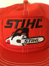 STIHL Chainsaw Patch Vintage Orange Cap Mesh Embroidered Snapback Hat USA