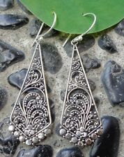 Traditional Design Solid Silver, 925 Balinese Filigree Earring 38965