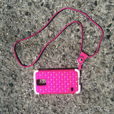 Snap Off Cell Lanyard Samsung S5 Pink Rhinestone Case