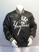 New York Yankees Jacket - Black Satin Big Logo by Carl Banks - Men's Large