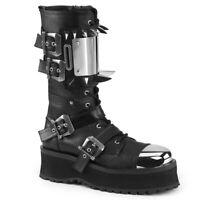 Demonia GRAVEDIGGER-250 Black Cosplay Goth Platform Mid-Calf Boot Metal Toe Cap