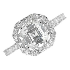 Sterling Silver Asscher Cut Cubic Zirconia Cluster Ring, Size N (7453) *