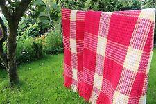 Manta de lana Waffle galeses Rosa Crema de Limón Panal Vintage Dormitorio Camper Chic