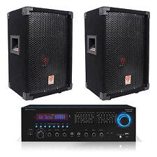 "2 Rockville RSG8 8"" 300W Passive DJ/PA Speakers+Technical Pro RX55URIBT Receiver"