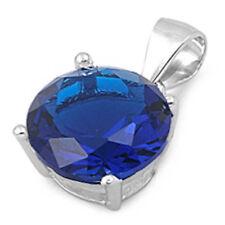 3 CARAT ROUND BLUE SAPPHIRE CZ PENDANT .925 Sterling Silver Pendant Necklace