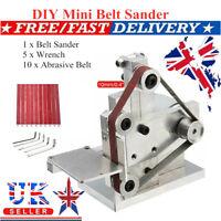 UK Grinder Electric Belt Sander Mini DIY Polishing Grinding Silver Machine Small