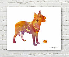 Australian Cattle Dog 2 Contemporary Watercolor Abstract Art Print by Artist Djr