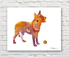 Australian Cattle Dog 2 Contemporary Watercolor Abstract Art Print by Artist Djr
