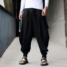 Hip Hop Männer Baumwoll Leinen Harem Hakama Hose Casual-Baggy Lose Samurai Hosen