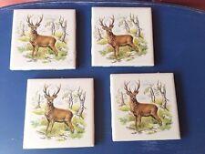 Deer Coasters Set Of 4 Buck Handmade Ceramic Tile UNIQUE Deer Hunter 4 X 4 #