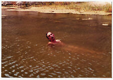 Vintage 80s PHOTO Young Man Swimming Skinny Dipping In River