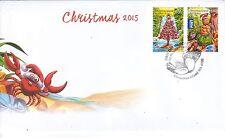 CHRISTMAS Island 2015 Christmas Set of 2  on FDC.