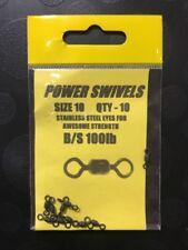 Power Swivels Size 10 B/S 100lb Pack Qty 10 - Carp Catfish Pike, Sea Fishing etc