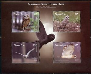 TONGA NIUAFO'OU  UNISSUED SET OF FOUR OWLS STAMPS SOUVENIR SHEET  MINT NH